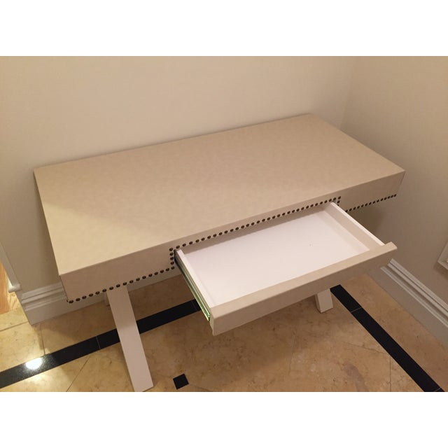 Custom Ivory Leather Desk with Nailhead Trim - Image 4 of 9
