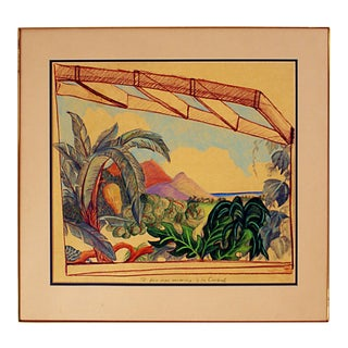 Circa 1970 Tropical Landscape Drawing For Sale