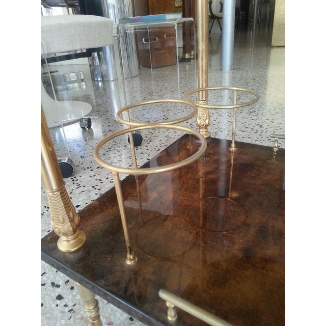 Mid-Century Modern Bar Cart in Lacquered Goatskin and Gold Plate by Aldo Tura For Sale - Image 11 of 13