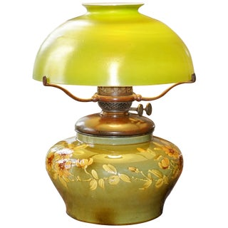 Tiffany Studios Bronze, Favrile and Pottery Oil Lamp For Sale