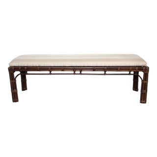 Vintage Henredon Bamboo Rattan Chinoiserie Bench For Sale