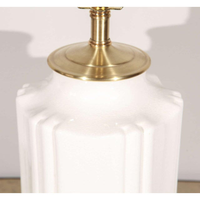 Metal Chinoiserie White Crackle Glaze Table Lamp For Sale - Image 7 of 8