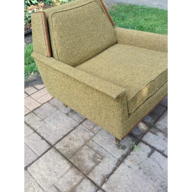 1960s Mid-Century Modern Army Green Wool Side Chair For Sale In Minneapolis - Image 6 of 8