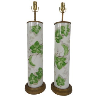 Large-Scale American Glass Painted Lamps - A Pair For Sale