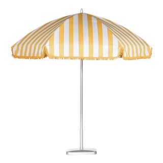 Monte Carlo Gold 9' Patio Umbrella, Light Yellow & White For Sale