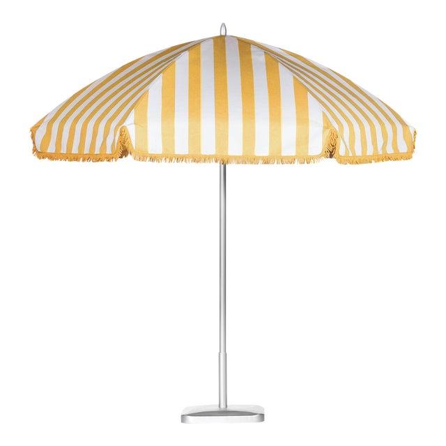 Monte Carlo Gold 9' Patio Umbrella, Light Yellow & White For Sale