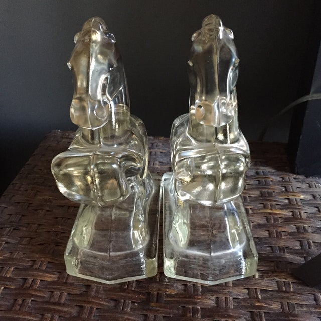 Vintage Clear Glass Horse Bookends - A Pair - Image 3 of 7