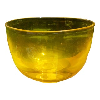 Citrine Yellow Glass Centerpiece Bowl For Sale