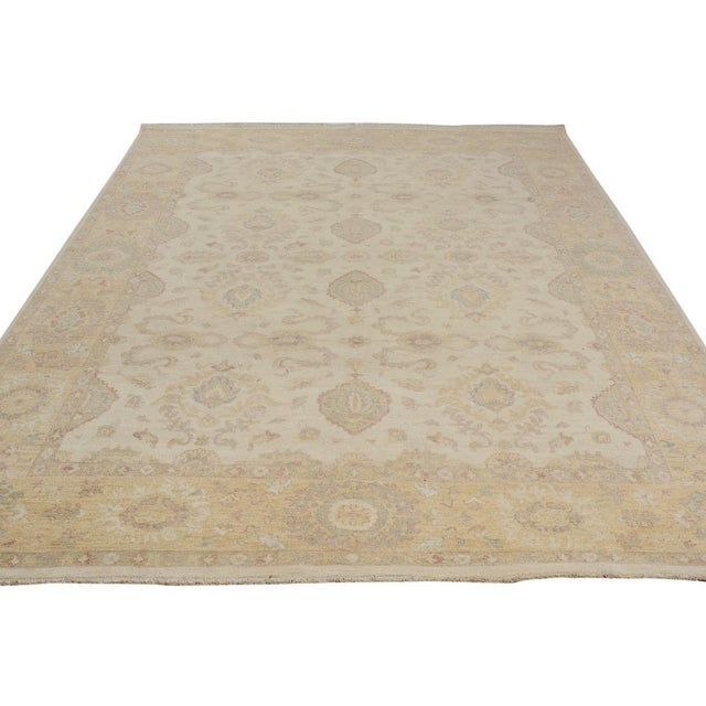 Kafkaz Peshawar Linwood Ivory & Gold Wool Rug - 9'0 X 12'1 For Sale In New York - Image 6 of 7