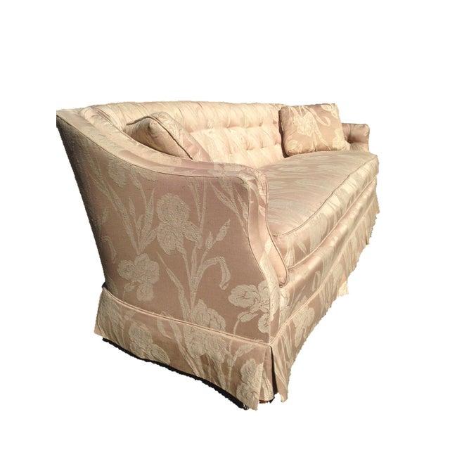 Henredon Mid Century Tufted Floral Soft Pink Tonal Sofa - Image 3 of 7