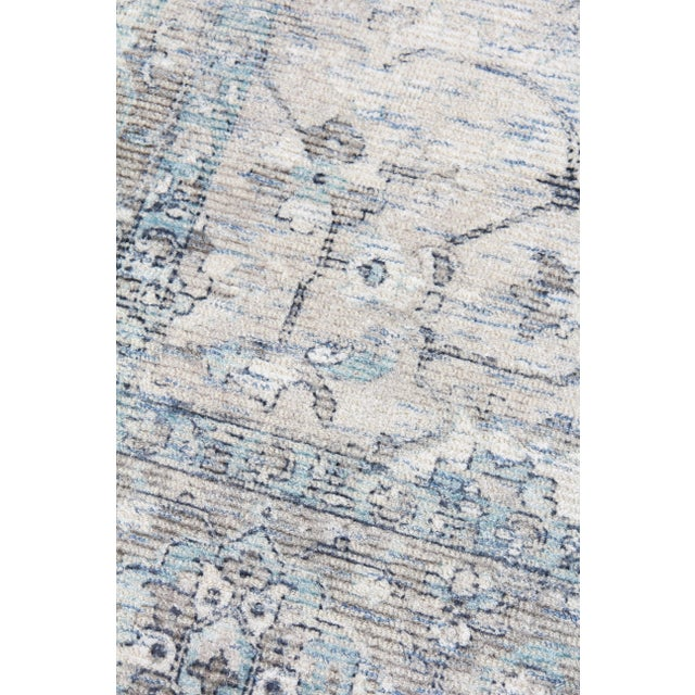 Traditional Exquisite Rugs Biron Handmade Wool & Viscose Beige & Blue - 8'x10' For Sale - Image 3 of 9