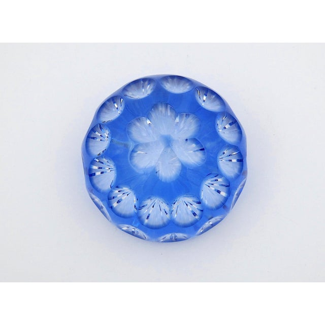 Glass Vintage Blue Crystal Paperweight by Webb Corbett of England For Sale - Image 7 of 12