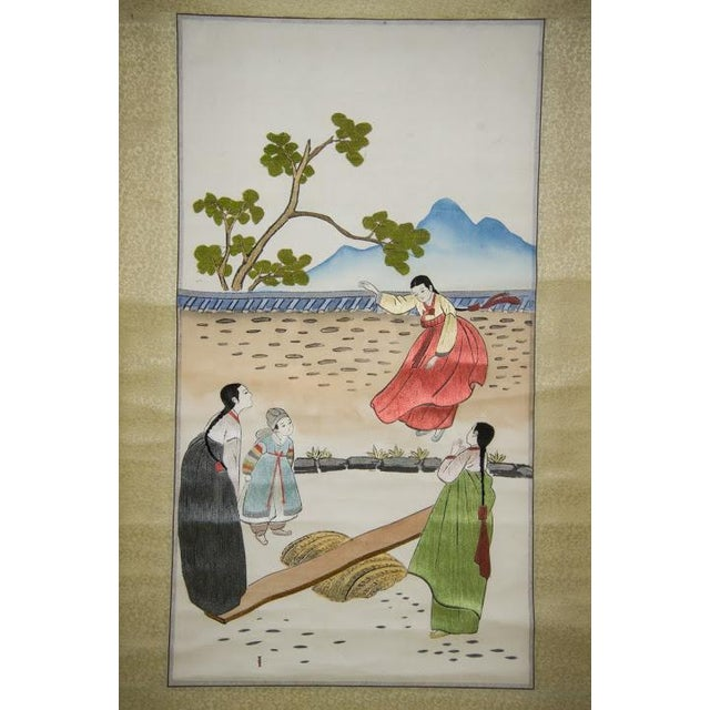 Korean Silk Embroidered Scrolls - A Pair For Sale - Image 5 of 11