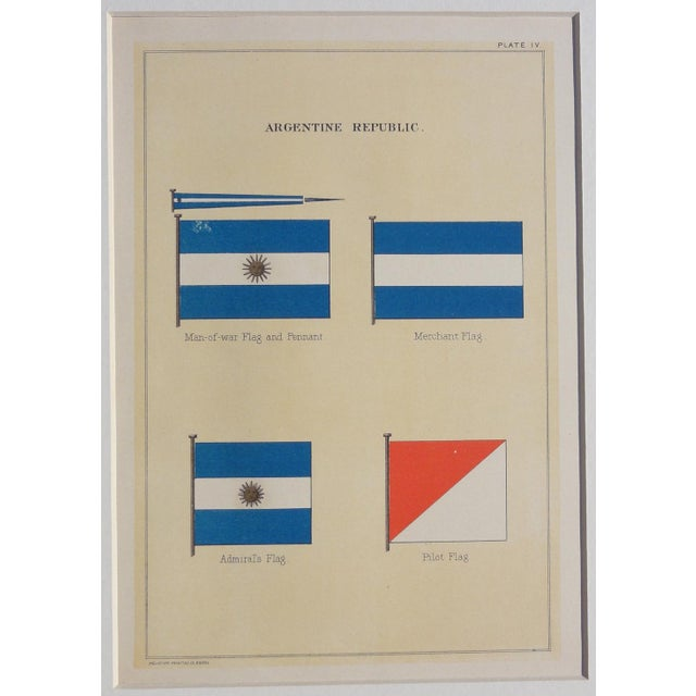 1882 Nautical Flags of Argentina Chromolithograph For Sale - Image 4 of 5