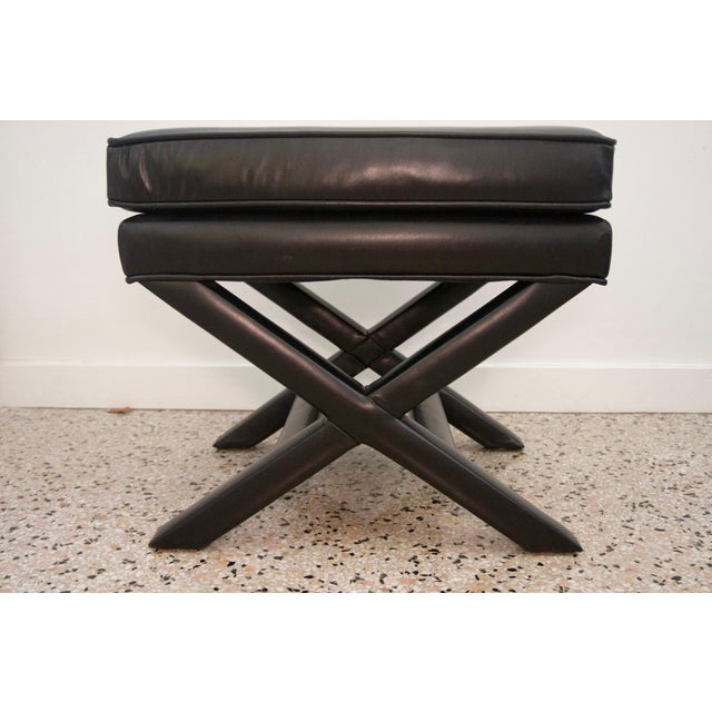 Modern Modern Black Leather X Stools / Ottomans - a Pair For Sale - Image 3 of 6