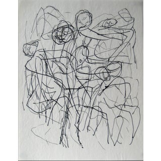 Monochromatic Figurative Line Drawing in Ink on Paper, Early 20th Century For Sale