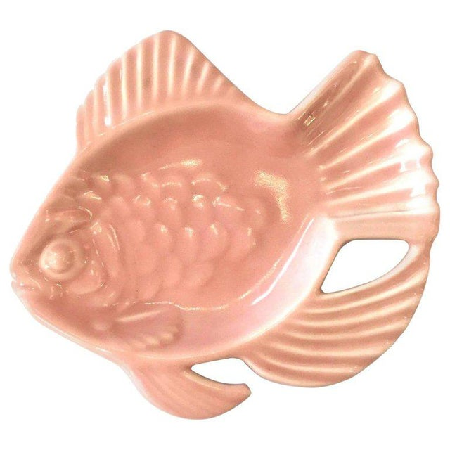 Mid-Century Modern Rookwood Pink Pottery Aloha Fish Candy Dish For Sale - Image 3 of 3
