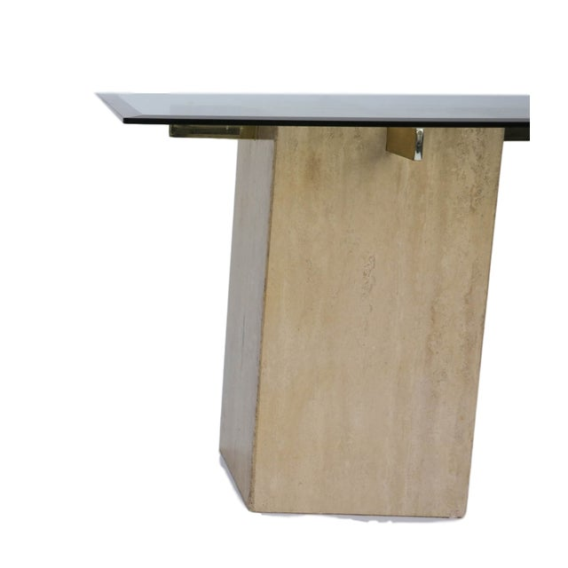 Travertine Brass & Glass End Table - Image 10 of 10