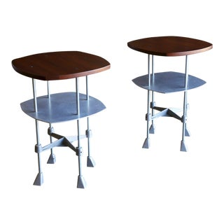 Robert Josten Alunimun & Walnut Top Side Tables - a Pair