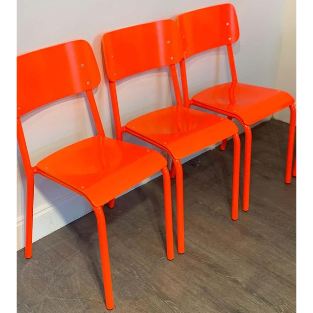 Declercq Mobilier Modern Ml45 Neon Red Chairs - Set of 6 For Sale - Image 11 of 13