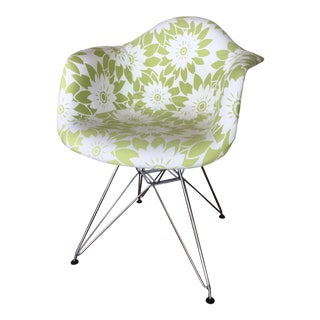 Mid-Century Modern Eames Reproduction Green and White Flower Power Fabric Side Chair