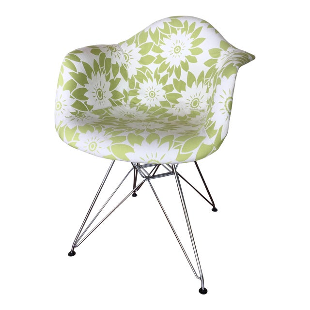 Mid-Century Modern Eames Reproduction Green and White Flower Power Fabric Side Chair For Sale