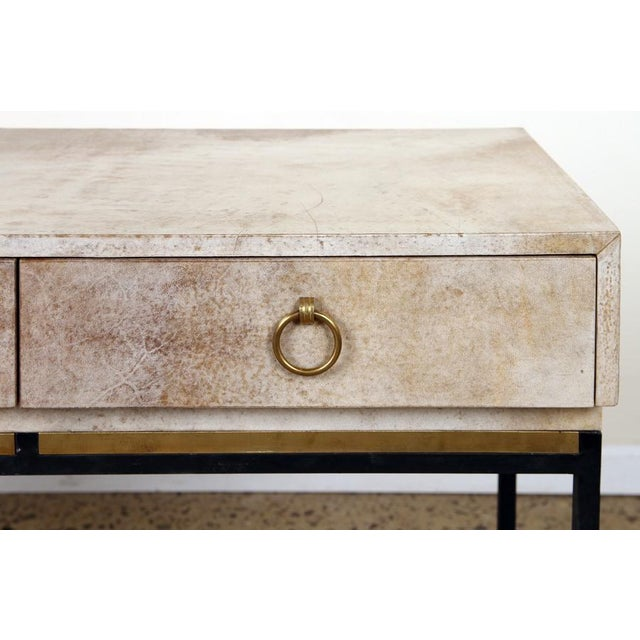 1950s 1950s Parchment Top With Brass and Steel Legs Console For Sale - Image 5 of 7