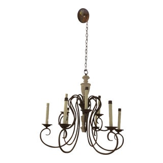 Nine Light Country Style Wood + Metal Chandelier For Sale
