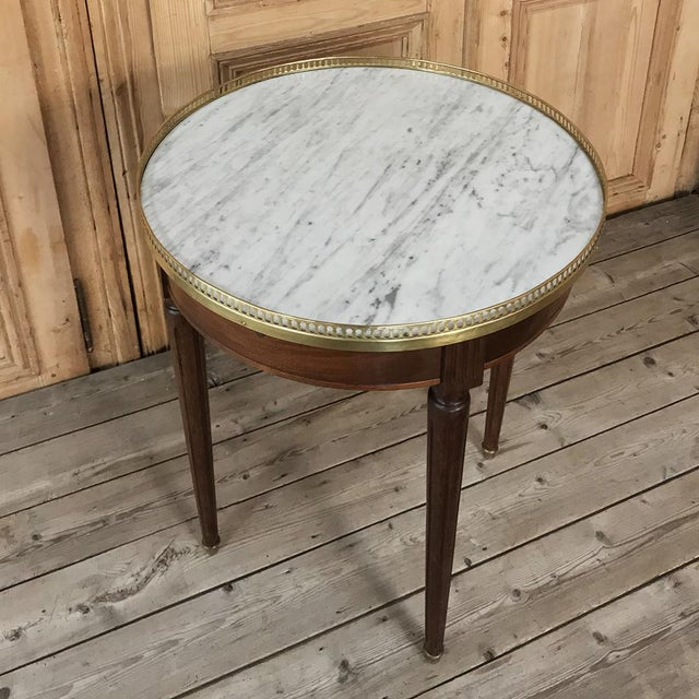 Gold 19th Century French Directoire Marble Top Round End Table For Sale - Image 8 of 13
