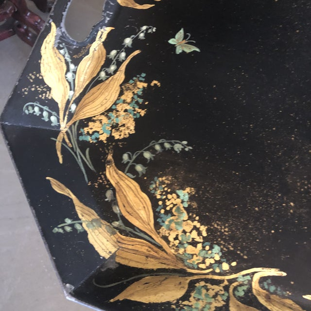 1960s Tole Butler Tray and Stand Flora Fauna Butterfly Motif For Sale - Image 4 of 13