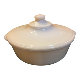Mid-Century Fire King Milk Glass Casserole Dish For Sale