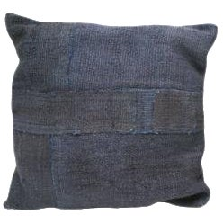 Square Indigo Blue Cotton Kilim Cushion For Sale