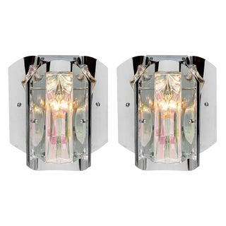 Vintage French Modernist Iridescent Sconces - a Pair For Sale