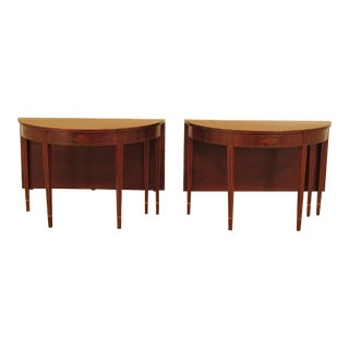 Vintage Inlaid Drop Leaf Mahogany Console Tables - a Pair For Sale