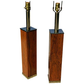 1960s Mid-Century Modern Rosewood and Brass Table Lamps - a Pair For Sale
