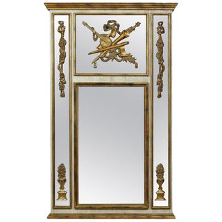 Palatial Louis XVI Style Gilt and Poly-Chromed Wall / Mantle or Console Mirror For Sale