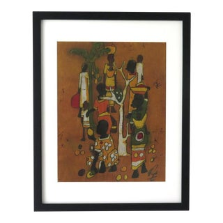 Vintage African Framed Batik For Sale