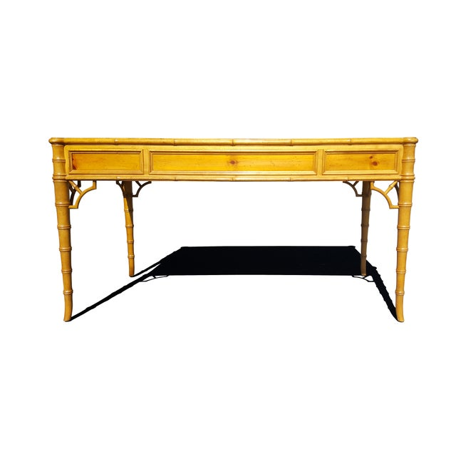 1970s Baker Furniture Chippendale Faux Bamboo Desk For Sale - Image 5 of 12