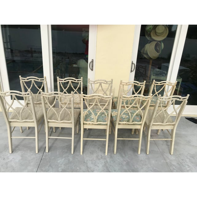 Chinoiserie Vintage Thomasville Faux Bamboo Chinoiserie Hollywood Regency Chairs - Set of 10 For Sale - Image 3 of 11