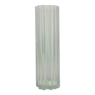 1960's Tall Bark Textured Scandinavian Art Glass Vase For Sale