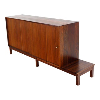 20th Century Danish Modern Solid Oiled Walnut Credenza With Sliding Doors For Sale
