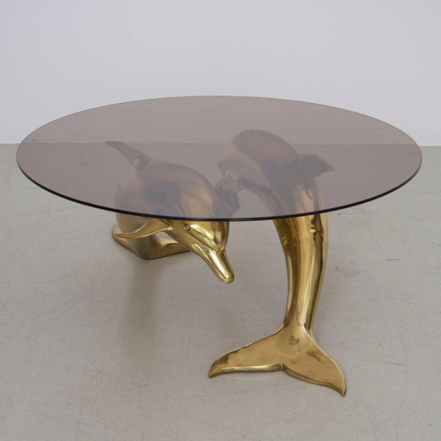 Brass Massive Brass Coffee Table in Form of Two Dolphins For Sale - Image 7 of 7