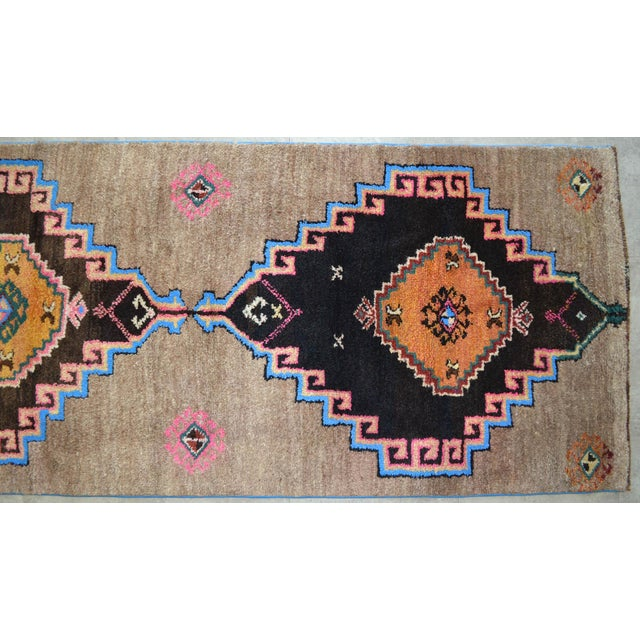 Textile Hand Knotted Natural Colors Full Tribal Design Runner Rug Wide Runner - 3′6″ X 11′4″ For Sale - Image 7 of 11