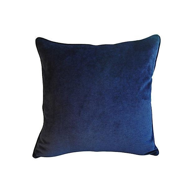 Pair of large custom-tailored pillows in vintage/never used cotton velvet fabric by JB Martin Fabrics in a midnight blue...