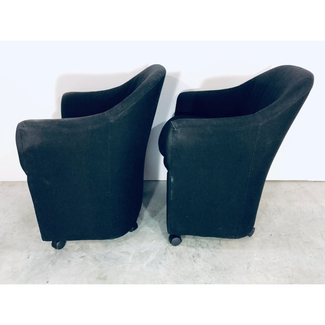 1990s Thayer Coggin Black Denim Dining Arm Chairs- a Pair For Sale - Image 5 of 13