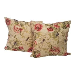 Red Rose and Peony Flower Square Pillows - A Pair For Sale