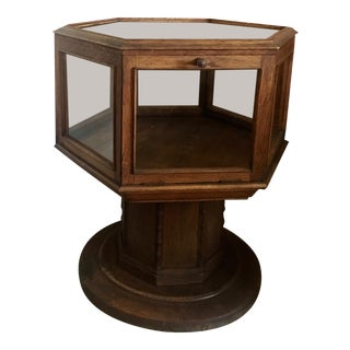 1900s Arts & Crafts Hexagonal Display Case Pedestal Table For Sale