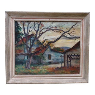 1930s Autumn Farmhouse Oil Painting on Canvas by Ejnar Hansen For Sale