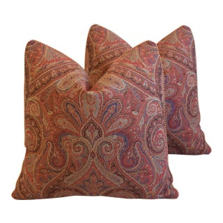 "Ralph Lauren English Country Paisley Feather/Down Pillows 21"" Square - Pair For Sale"