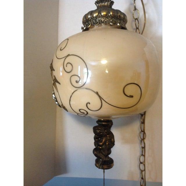 Hollywood Regency Hollywood Regency Hanging Swag Lamp With Cherubs For Sale - Image 3 of 8